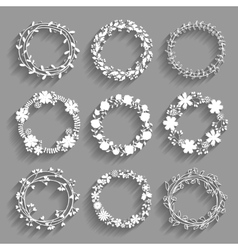 White wreaths with shadows vector image vector image