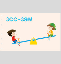 Word card with two boys on see-saw vector