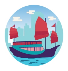 Hong kong harbour with tourist junk vector