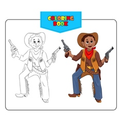 Coloring book cowboy vector