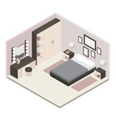Gray isometric bedroom interior vector