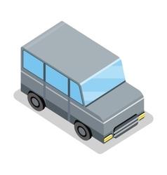 Isometric gray jeep icon vector