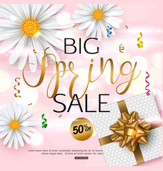 Pink spring sale banner with chamomile flower vector