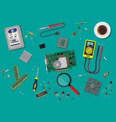 Pc service personal computer hardware vector