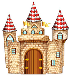 Castle tower with wooden door vector