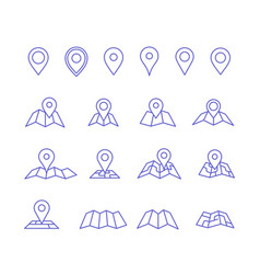 Pin and map icons vector