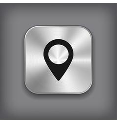 Map pointer icon - metal app button vector