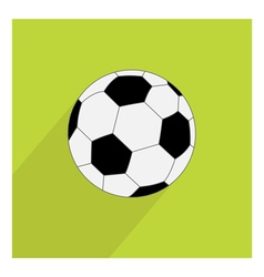 Football soccer ball icon with long shadow Flat vector image