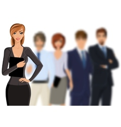 Busines woman with business team vector image