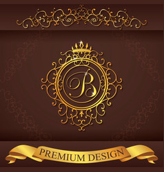 Letter b luxury logo template flourishes vector