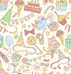 Happy birthday party seamless colored pattern with vector