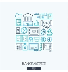 Banking integrated thin line symbols modern vector