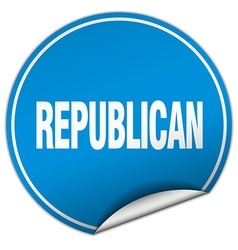 Republican round blue sticker isolated on white vector