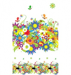 Summer day floral seamless background vector
