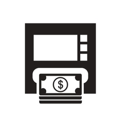 Flat icon in black and white atm money vector