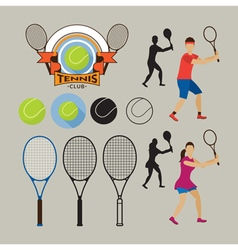 Tennis player and graphic elements vector