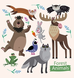 Set of cartoon forest animals vector
