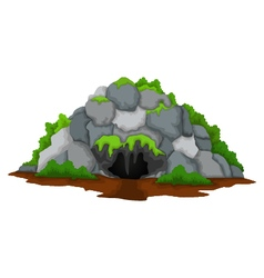 Cave cartoon with forest landscape background vector