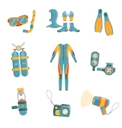 Scuba diving gear set vector