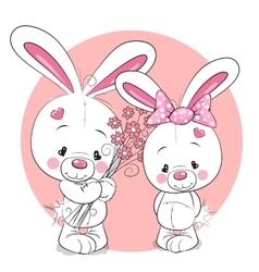 Rabbit boy and girl vector