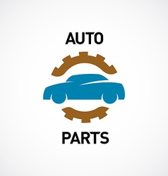 Auto parts logo template Car silhouette with gear vector image
