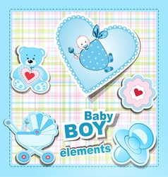 Baby boy items vector