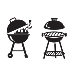 black BBQ Grill icons vector image