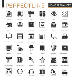 Black classic home appliances household web icons vector