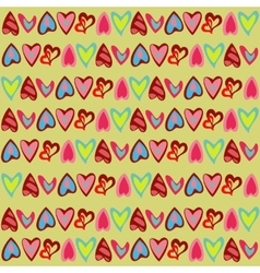 Bright pattern with cute colorful hearts vector image vector image