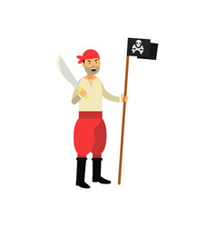 cartoon aggressive pirate character holding jolly vector image