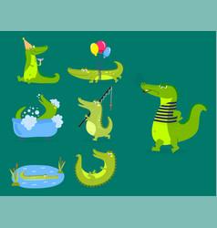 cartoon green crocodile funny predator australian vector image