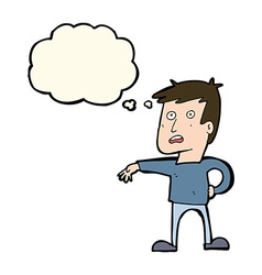 Cartoon man making camp gesture with thought vector