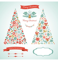 Christmas trees and graphic elements vector image