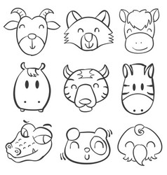 collection animal head hand draw vector image vector image