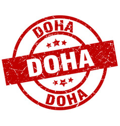 Doha red round grunge stamp vector