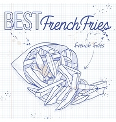 French fries scetch on a notebook page vector