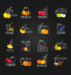 fresh fruits colorful chalkboard icons set vector image