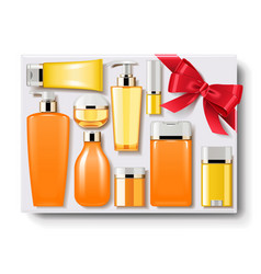 Gift box with cosmetics vector