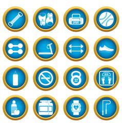 gym icons blue circle set vector image