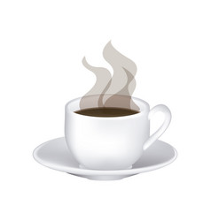 image color with hot cup of coffee serving on dish vector image vector image
