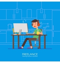 Male freelancer working remotely from his room vector