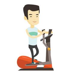 Man exercising on elliptical trainer vector
