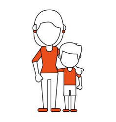 Mom and son design vector