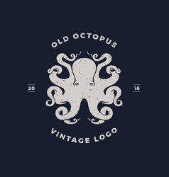 octopus silhouette logo invert vector image vector image