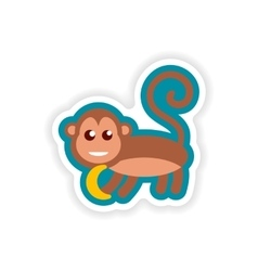 Paper sticker on white background monkey with vector