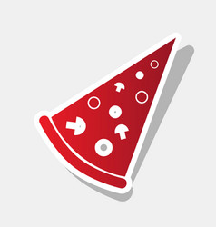 Pizza simple sign new year reddish icon vector