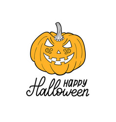 Pumpkin with happy halloween vector