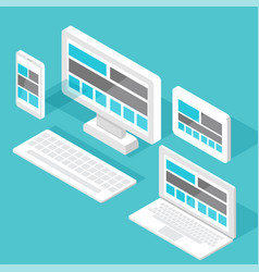 Responsive pc flat design modern seo vector
