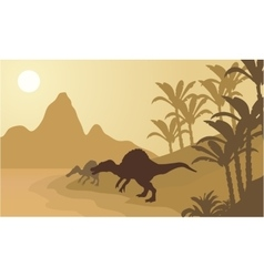 Spinosaurus in river silhouette scenery vector image
