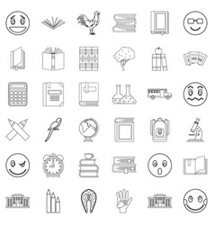 Surprised icons set outline style vector